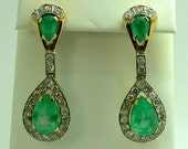 Old Hollywood Glamour! 16.60tcw Colombian Emerald & Diamond Chandelier Earrings