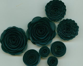 Navy Blue Handmade Spiral Rose Paper Flowers