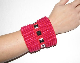 Red bracelet  Jewelry / Beadwork bracelets Cuffs  Beadwork crochet bracelets cuffs