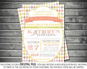 Girl's Baby Shower Invitation - Modern, Argyle, Pink, Green, Vintage, Printable, Digital
