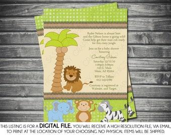 Boy Baby Shower Invitation -Safari Theme, Lion, Zebra, Monkey, Green, Brown, Printable, Digital