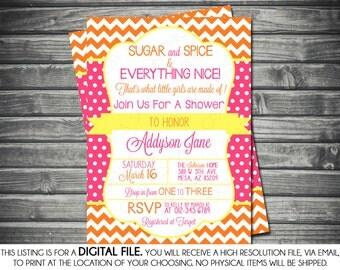 Girls Baby Shower Invitation - Chevron, Polka Dots, Pink, Orange, Yellow, Printable, Digital
