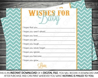 Instant Download Baby Boy Wishes for Baby Card - Blue Chevron and Orange, Printable, Digital