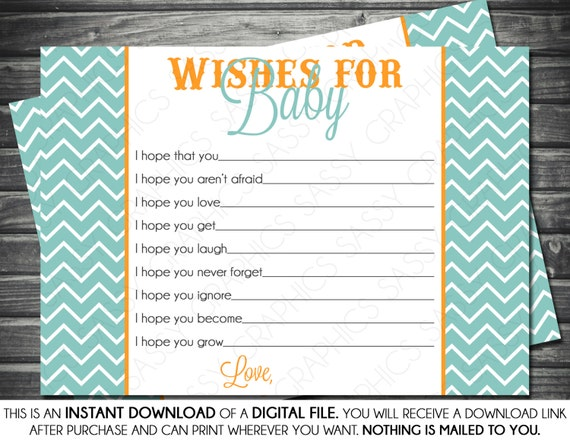 Instant download baby boy wishes for baby card blue chevron for Wishes for baby template printable