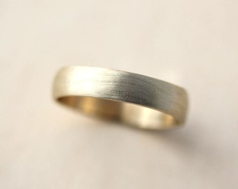 Men's Wedding Band, 4.5mm Low Dome 10k Recycled Hand Carved Yellow Gold Wedding Ring  -  Made in Your Size