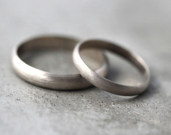 Gold Wedding Band Set, His and Hers 4mm and 3mm Brushed Half Round 14k Recycled Palladium White Gold Wedding Ring Set  -  Made in Your Sizes