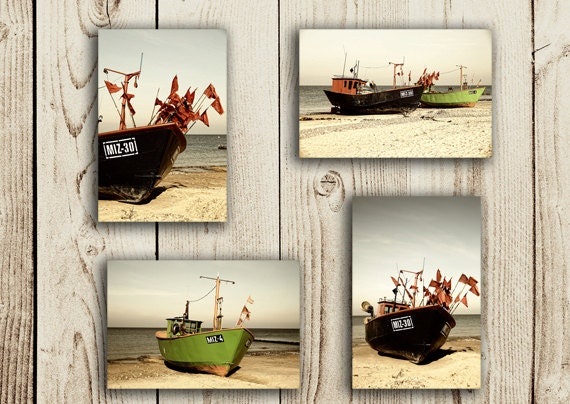 Beach Photography Nautical Photography  Sea Beach Boat Sail Fish cutters sephia SET OF FOUR Fine Art Photography Prints