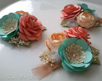 Corsages - Paper Flowers - Weddings - Salmon - Sea Foam - Bridal Shower - Baby Shower - Boutonniere - Any Color - Made To Order