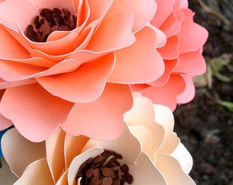 Paper Flowers - Wedding Decor - Bridal Shower Decor - Table Decorations - Mixed Colors - Made To Order - Set of 48