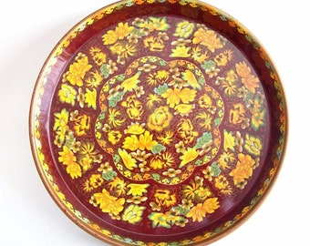 Vintage Daher Collectible Tin Large Round Serving Tray Made in England