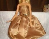 Gold Satin semi-formal dress for Fashion Dolls - ed358
