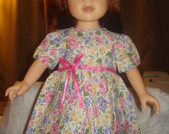 Handmade for 18 inch Dolls full dress in pink, blue & yellow floral - AG29