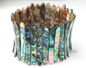 MCBC030101) 5mm Genuine Abalone Shell Stretch Bracelet (19-21cm)