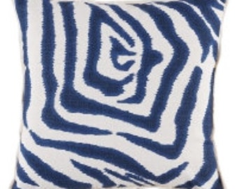 Pillow Cover Cushion 20x20  mariner  blue linen zebra geometric  pattern, other sizes available,
