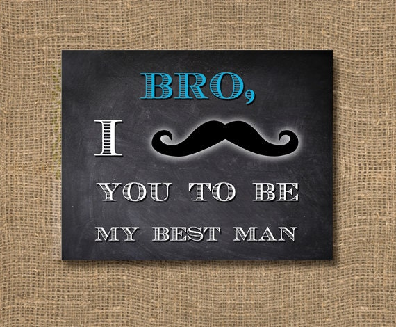 Bro I Mustache You To Be My Best Man Chalkboard Greeting Card For The Groom