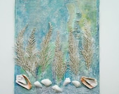 Mixed Media Ocean Art on Canvas Panel - RobinsArtAndDesign