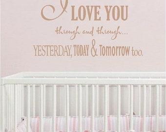 I Love you-  Vinyl Lettering wall words decal graphics Home decor  bedroom nursery  room itswritteninvinyl