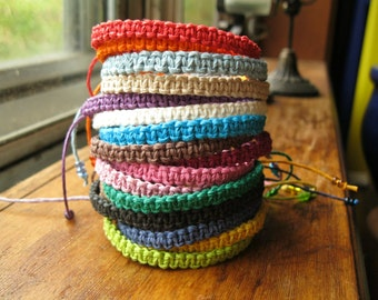 Macrame Hemp Bracelet, Natural Woven Knot Friendship Bracelet
