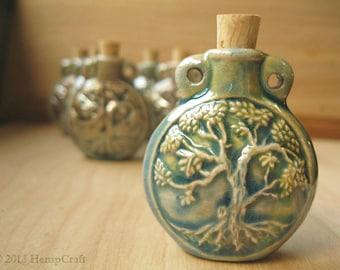 Tree of Life Pendant Ceramic Vessel, High Fired Clay Raku Glazed Finish