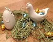Handmade white porcelain egg cup with chicken salt  - Set of 2