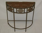 Handcrafted Repurposed Antique Floor Grate Ornate Half Moon Table. OAK...One Of A Kind