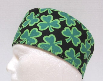 Mens St Patricks Day Scrub Cap or Surgical Cap with Shamrocks on Black