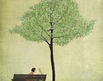 Under the cherry tree - Summer - Art print (3 different sizes)