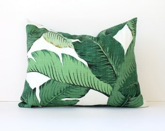 Green Floral Decorative Designer Lumbar Pillow Cover Accent Cushion Tropical Palm fronds Leaves nature jungle modern martinique Resort
