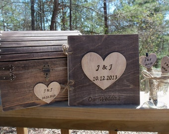CoUPON CoDE:  BLKFRI10 - Rustic Wedding Set - Treasure Chest - Matching Guest Book and Pen Set - - SAVE by buying the Set