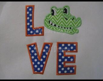 Gator Love Applique Machine Embroidery Design