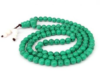 6mm Green Stone 108 Prayer Beads Meditation Yoga Tibet Buddhist Mala Necklace/Bracelet  ZZ211