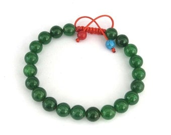 8mm Emerald Green/Forest Green Stone Beads Adjustable Bracelet  T2969