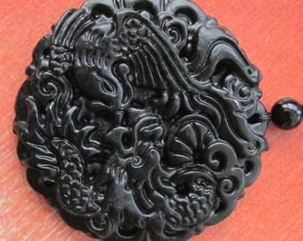 Natural Stone Dragon Phoenix Amulet Pendant 45mm x 45mm  TH088