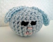 Amigurumi Blue Bunny Head Blue Rabbit Head Blue Hare Head