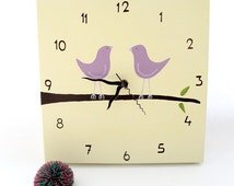 Clock- love birds cream  and purple nursery clock  -unique gift, wedding gift canvas clock, decorative hand painted square clock