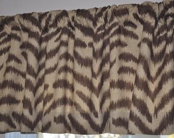 Waverly Fabric Couture Kingdom- Animal Print -Zebra Brown- Custom Valance size  51x16-ready to ship