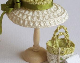 Handmade 1/12 miniature dollshouse green/ivory straw hat and bag