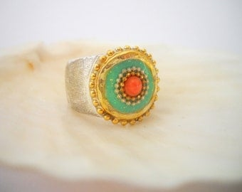 Turquoise and Coral Ring, Ethnic Ring, Coral and Turquoise Jewelry, Boho Ring