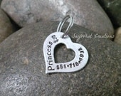 Adorable Heart Shaped Pet ID Tag Dog Tag Hand Stamped Personalized for your dog