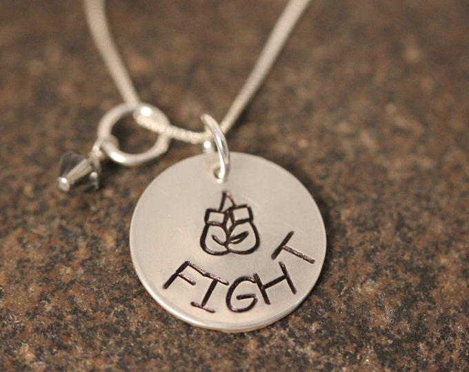 Custom Hand Stamped Sterling Silver FIGHT Necklace with Boxing Gloves and Birthstone