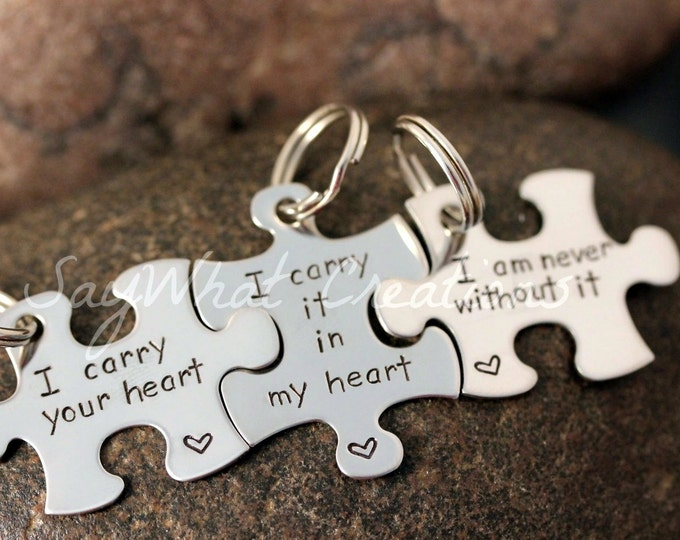 Custom Hand Stamped  Puzzle Piece Key Chains SET OF THREE
