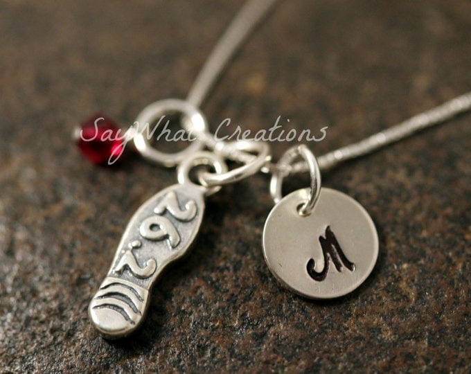 Sterling Silver Mini Initial Hand Stamped Marathon Runner Charm Necklace