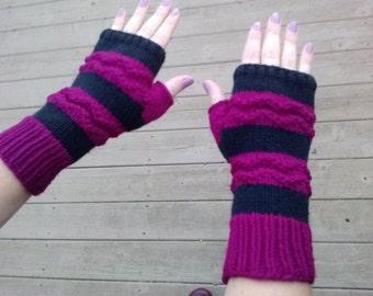 Fingerless gloves, black stripes and wavy magenta texture pattern, adult size small/medium, vegan