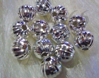 925 Pure Sterling Designer Silver Bali Beads Round 4p Size 10mm with Design Jewelry making findings, parts, loose beads