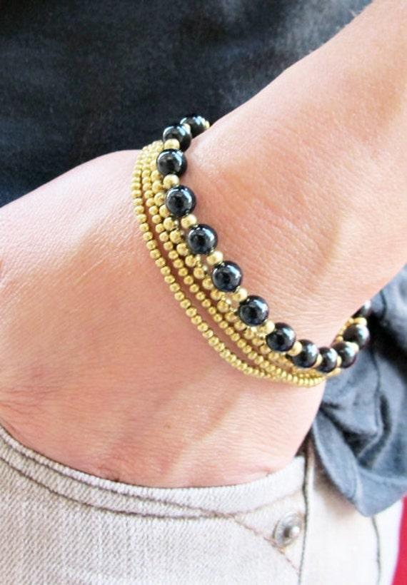6 mm Round Black Onyx Stone Multi Line Bracelet
