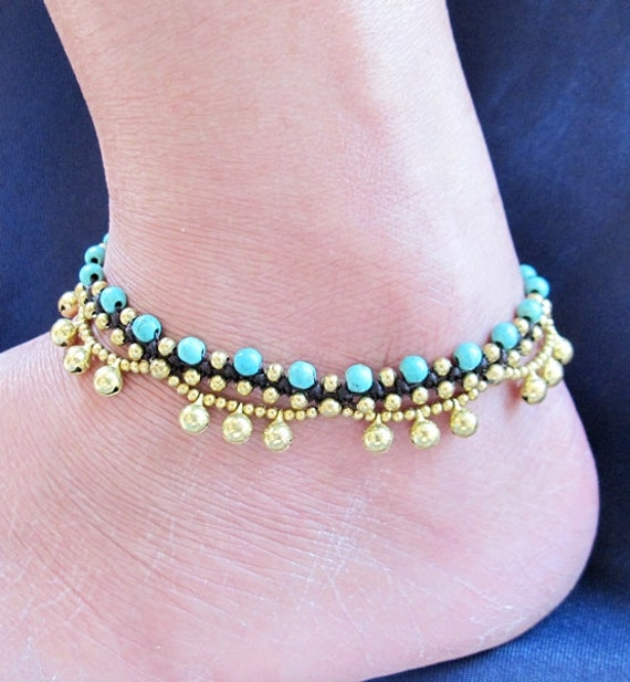 Tuquoise Stone Beaded Ring Ring Ankle Bracelet