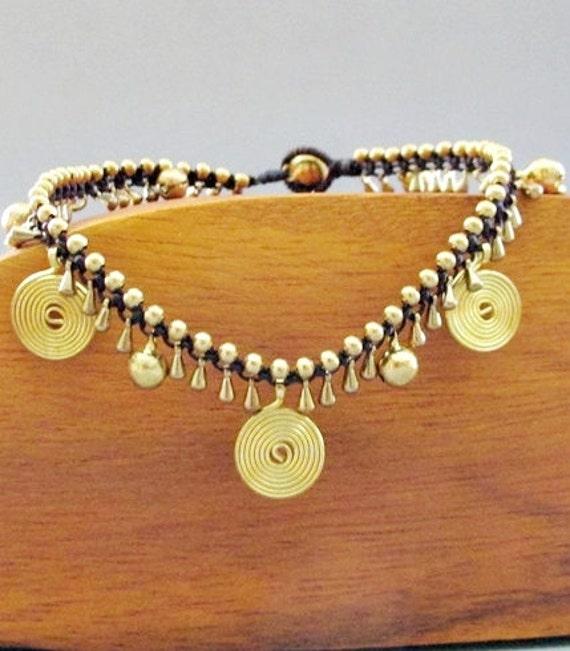 Romany Golden Swirl Macrame Anklet