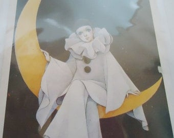 Pierrot the Clown Print.Original from the 80s.Postcard Size