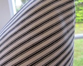 decorator fabric, black and off white woven cotton ticking 1 yard