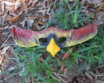 Phoenix Firebird mask, one of a kind Halloween Masquerade costume mask, flame, fire, red, yellow, and gold.